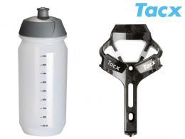 Košík TACX Ciro + Láhev Shiva 0,5l bílá/karbon