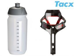 Košík TACX Ciro + Láhev Shiva 0,5l èervená/karbon