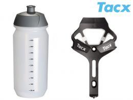 Košík TACX Ciro + Láhev Shiva 0,5l bílá-matná/karbon