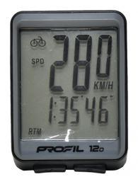 Cyklocomputer PROFIL 12D drátový èerno-šedý