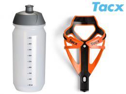 Košík TACX Deva + Láhev Shiva 0,5l oranžová/karbon