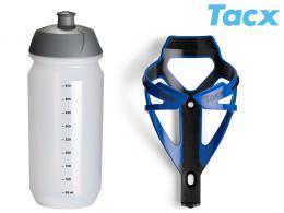 Košík TACX Deva + Láhev Shiva 0,5l modrá/karbon