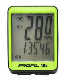Cyklocomputer PROFIL 12D drátový èerno-zelený