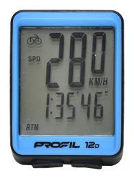 Cyklocomputer PROFIL 12D drátový èerno-modrý