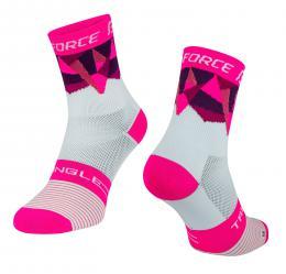 Ponožky F TRIANGLE, bílo-rùžové L-XL