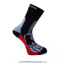 Ponožky PROGRESS MERINO èerná/šedá/èervená